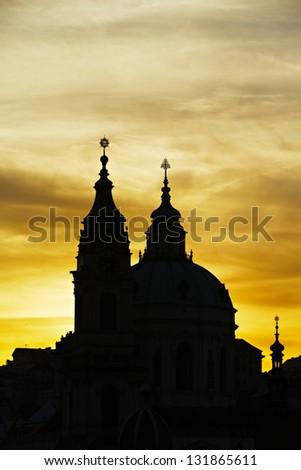 St. Nicholas church, Prague, Czech Republic. - stock photo