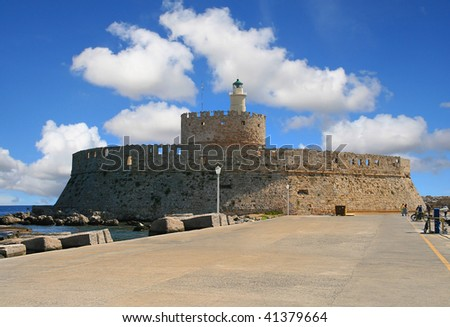 St. Nicholas Fortress on city Rhodes island Rhodes, greece - stock photo