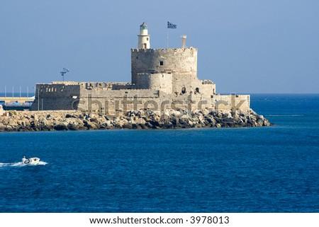 St. Nicholas Fortress, Rhodes, Rhodes, Greece - stock photo