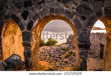 St. Nicholas on sunset. Gemiler Island, Fethiye, Turkey - stock photo