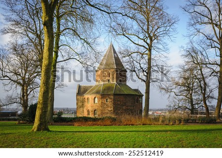 St. Nicolas church (Valkhof) in Nijmegen in winter morning, The Netherlands - stock photo