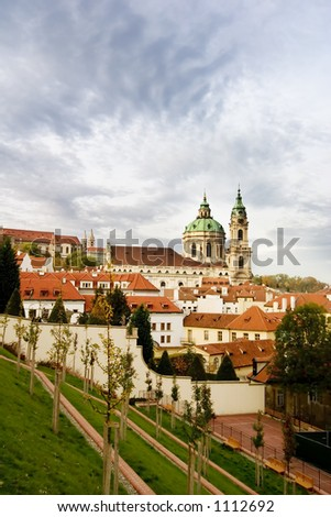 St. Nicolaus Church in the old town of Prague, Czech - stock photo