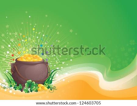 St. Patrick background  illustration with copyspace. - stock photo