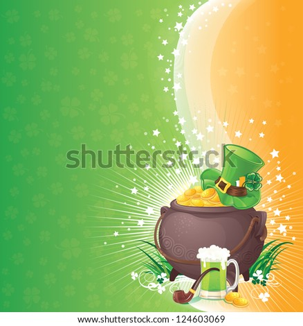 St. Patrick backgroundillustration with copyspace. - stock photo