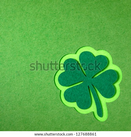 St. Patrick clover cut from paper. Greeting card. Paper craft. - stock photo