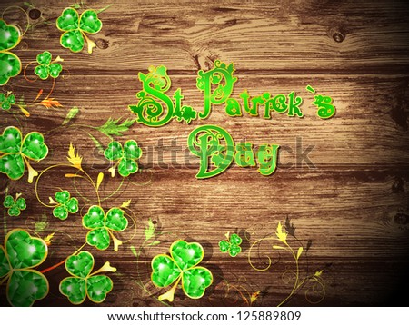 St.Patrick Day With Floral Clower at Natural Dark Wooden Background - stock photo