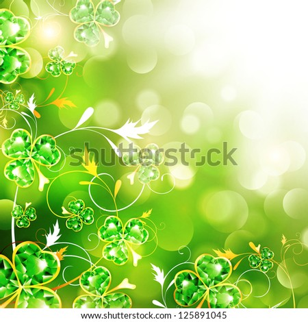 St.Patrick Floral With Jewelry Shamrocks Over Bright Background - stock photo