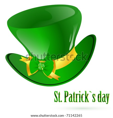 St.Patrick green hat with decorative bow and emerald shamrock - stock photo