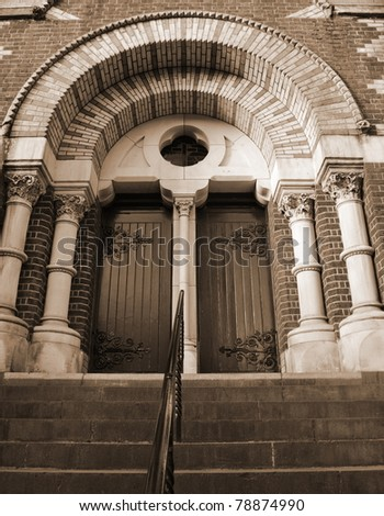 St. Patrick's Cathedral Church in Melbourne in sepia - stock photo
