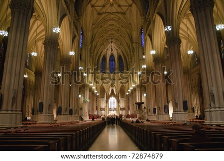 St. Patrick's Cathedral interior - stock photo