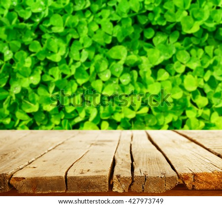 St.Patrick's day background with old empty wooden table and field of clover - stock photo