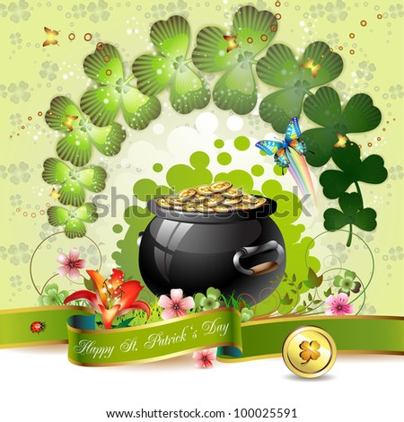St. Patrick's Day card design with clover and coins