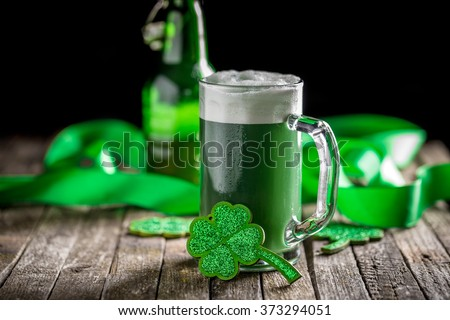 St Patrick's Day concept green beer with shamrock - stock photo