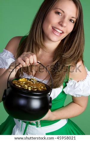 St. Patrick's Day Girl - stock photo