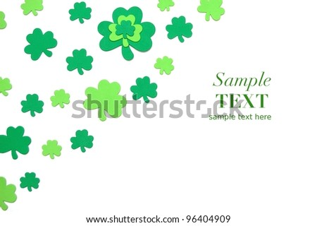 St Patrick's Day Good Luck Shamrock Background with Room for Text - stock photo