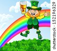 St. Patrick's Day happy leprechaun dancing with a glass of beer on a meadow under a rainbow - stock photo