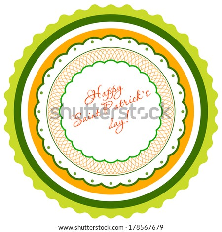 St. Patrick's day icon with congratulations: raster version - stock photo