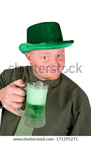 St. Patrick's Day: Irish Man Toasting With Green Beer