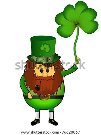 St. Patrick's Day, leprechaun, clover, Rasterized versions - stock photo