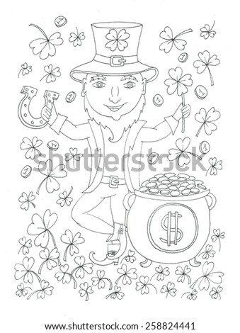 St Patrick's day Leprechaun coloring page - stock photo