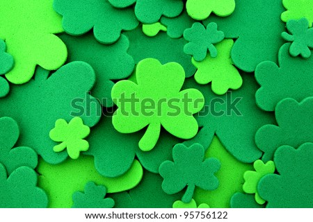 St Patrick's Day shamrock background - stock photo