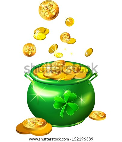 St. Patrick`s Day shiny green pot filled with leprechaun gold coins isolated on the white background - stock photo