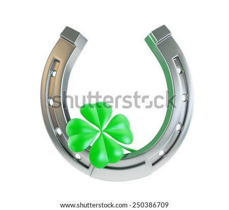 St. Patrick's day silver horseshoe - stock photo