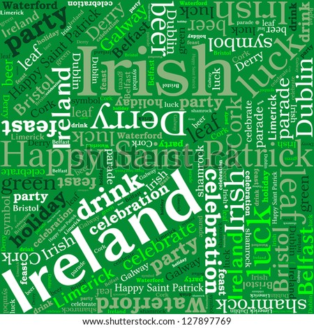 St. Patrick's Day word cloud concept. Tag cloud text business concept. Word collage.