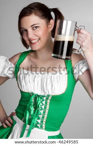 St. Patricks Beer Girl - stock photo