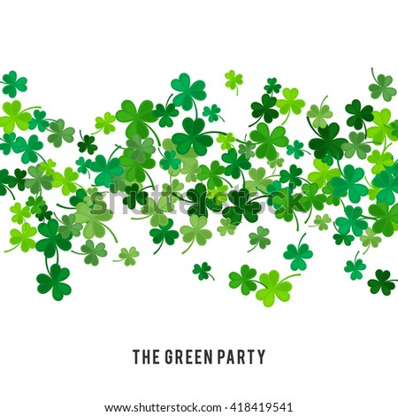 St Patricks Day background. illustration for lucky spring design with shamrock. Green clover wave border isolated on white background. Ireland symbol pattern. Irish header for web site. - stock photo