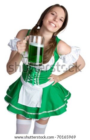 St Patricks Day Beer Girl - stock photo