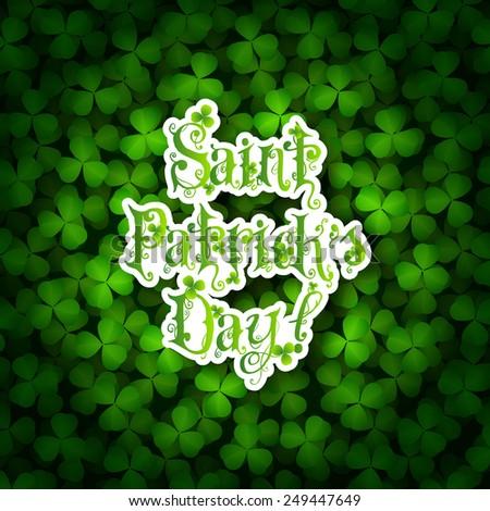 St. Patricks Day Card with Shamrock Background - stock photo