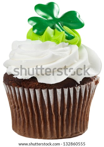 St Patricks Day Chocolate Cupcake with White and Green Frosting Isolated - stock photo