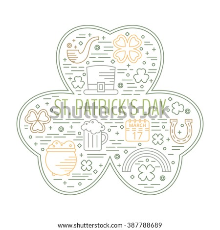 St. Patricks day colorful line icons set in clover shape. Design concept for festive banner, greeting card, flyer, t-shirt, poster, advertisement. Raster copy of vector file. - stock photo