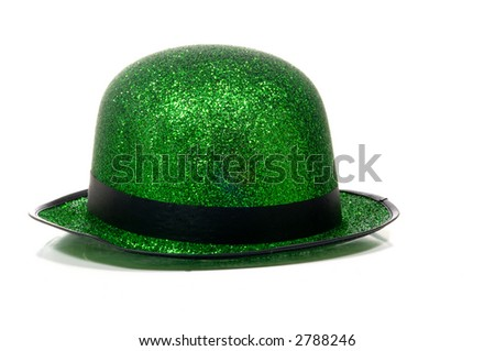 St. Patricks Day Decorations in green, derby party hat with black band