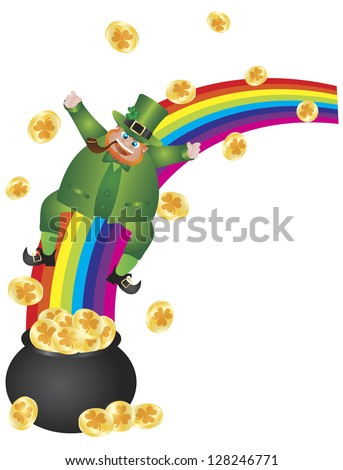 St Patricks Day Irish Leprechaun Sliding Down Rainbow onto Pot of Gold Coins Illustration Isolated on White Background Raster Vector
