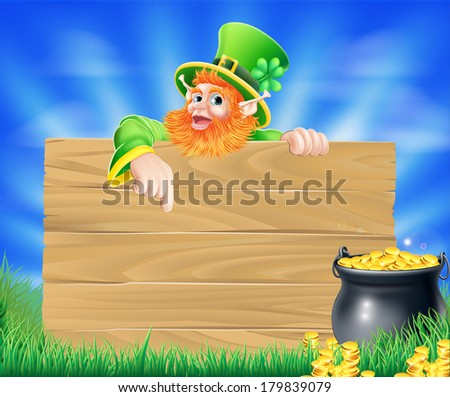 St Patricks day leprechaun background with wooden sign and cauldron or pot of gold coins - stock photo