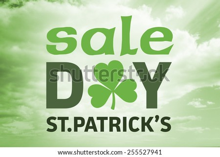 St patricks day sale ad against sky - stock photo