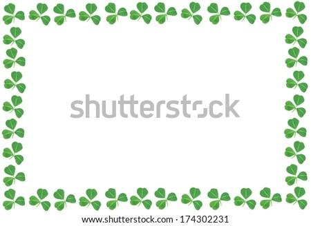 St Patricks Day shamrock frame over a white background - stock photo