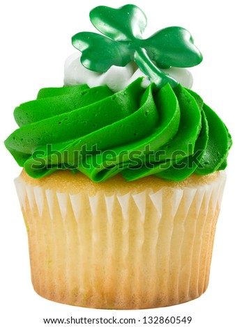 St Patricks Day Vanilla Cupcake with Dark Green Frosting Isolated - stock photo