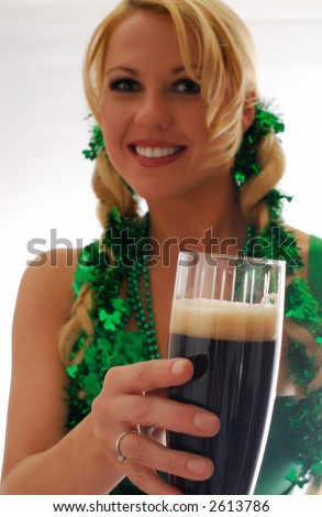 St. Patty's Day Focus on glass - stock photo