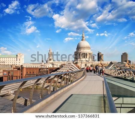 St Paul Cathedral view from the Millennium Bridge, London. - stock photo