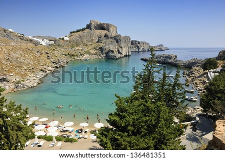 St Paul's Bay Beach in Lindos, Rhodes, Greece, Europe - stock photo