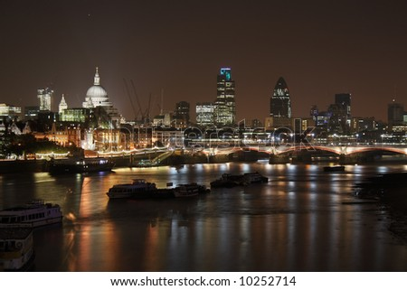 St Paul's Cathedral and Blackfriars Bridge by night - stock photo