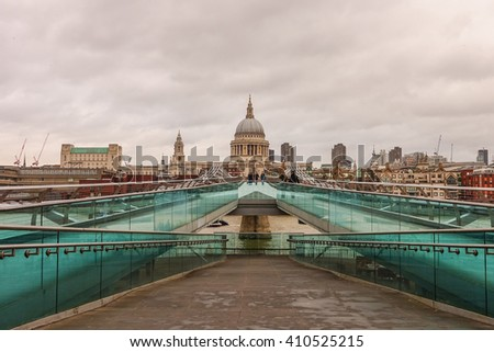 St Paul's Cathedral and London skyline in London UK