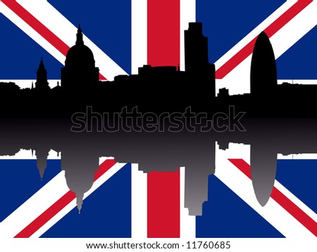 St Paul's cathedral and London skyscrapers reflected with British flag JPG - stock photo