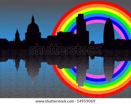 St Paul's cathedral and London skyscrapers reflected with rainbow JPG - stock photo