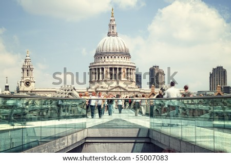 St. Paul's Cathedral and motion blured people (long exposure) - stock photo