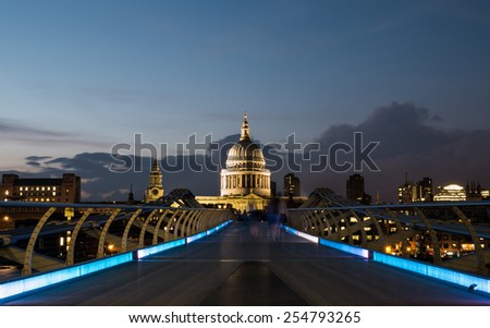 St Paul's Cathedral and the Millennium Footbridge - stock photo