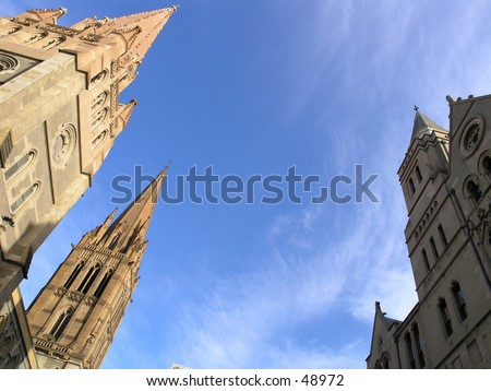 St. Paul's Cathedral at dawn Downtown Melbourne Australia - stock photo